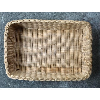 Mid 20th Century Natural Woven Wicker Rattan Tray With Handles Preview