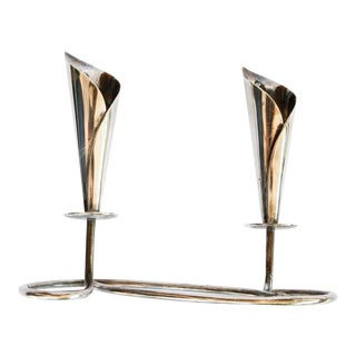 Vintage Mid-Century Modern Silver Plated Attached Candlesticks From Denmark For Sale