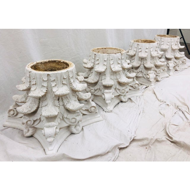 Hollywood Regency Vintage White Corinthian Style Column Planters For Sale - Image 3 of 13