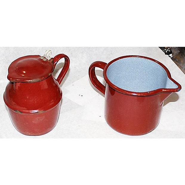 French Enamelware Creamer and Pichter - Image 3 of 5