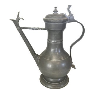 Late 1800s Antique Pewter Flagon For Sale