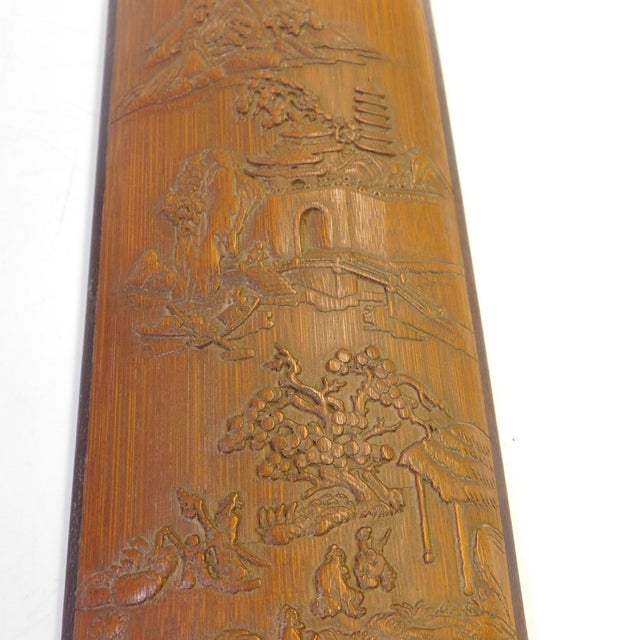 Asian Carved Bamboo Plaque - Image 3 of 5