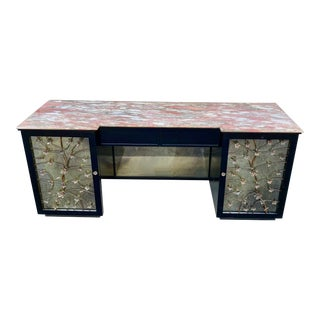 Hollywood Regency Lacquered & Mirrored Credenza / Vanity / Desk /Sideboard For Sale
