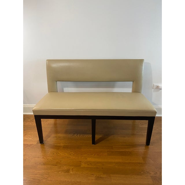 Holly Hunt Christian Liaigre Leather Velin Banquette Bench For Sale - Image 11 of 11