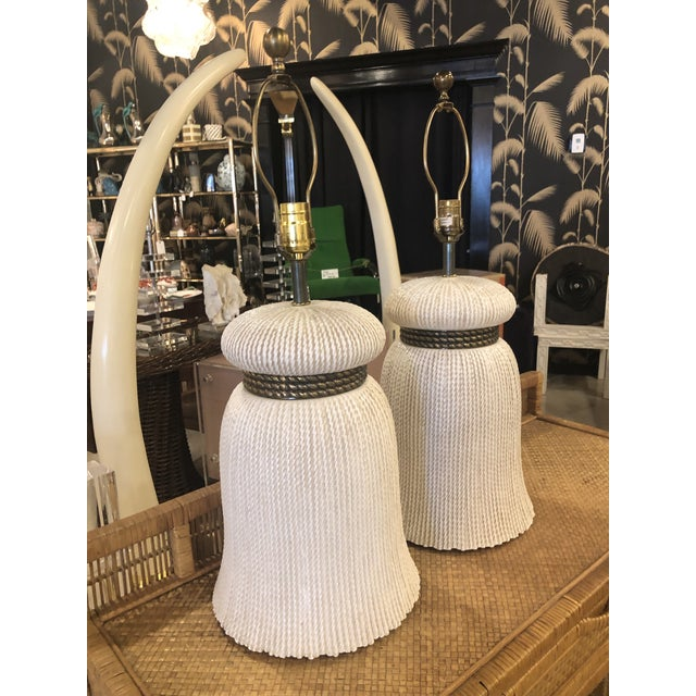 Vintage Chapman Hollywood Regency Chinoiserie Ceramic Tassel Table Lamps - A Pair For Sale - Image 9 of 13
