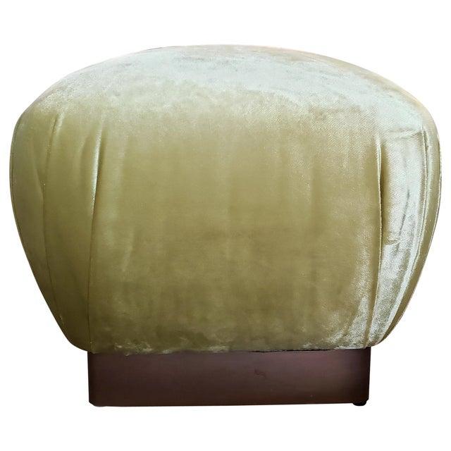 1980s Vintage Brass Plinth Base Ottoman Reupholstered in Citrine Velvet For Sale - Image 5 of 5