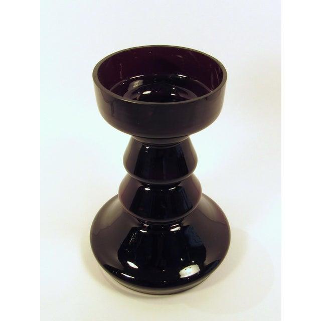Vintage Black Amethyst Glass Hoop Vase by Lindshammar For Sale - Image 4 of 7