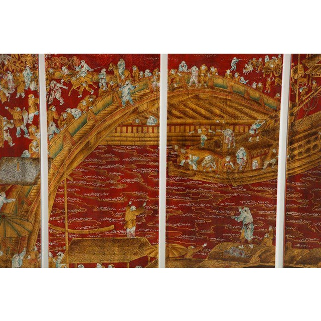 Asian Chinoiserie Red Lacquered Panels - Set of 6 For Sale - Image 3 of 12