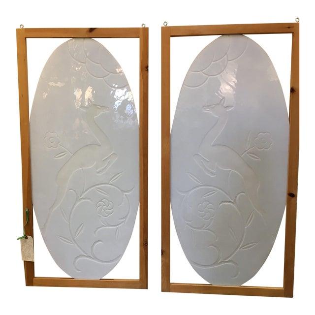 Art Deco Milk Glass Panels - A Pair - Image 1 of 8