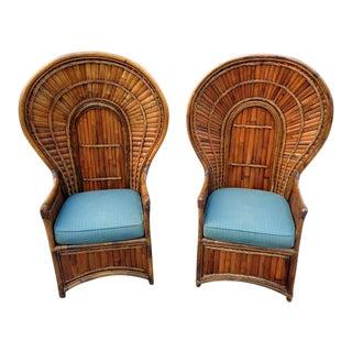 Vintage Organic Modern Palm Beach Bamboo Peacock Chairs ~ a Rare Pair For Sale