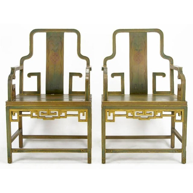 Asian Four Gump's 1940s, Hand-Painted Chinoiserie Armchairs For Sale - Image 3 of 8
