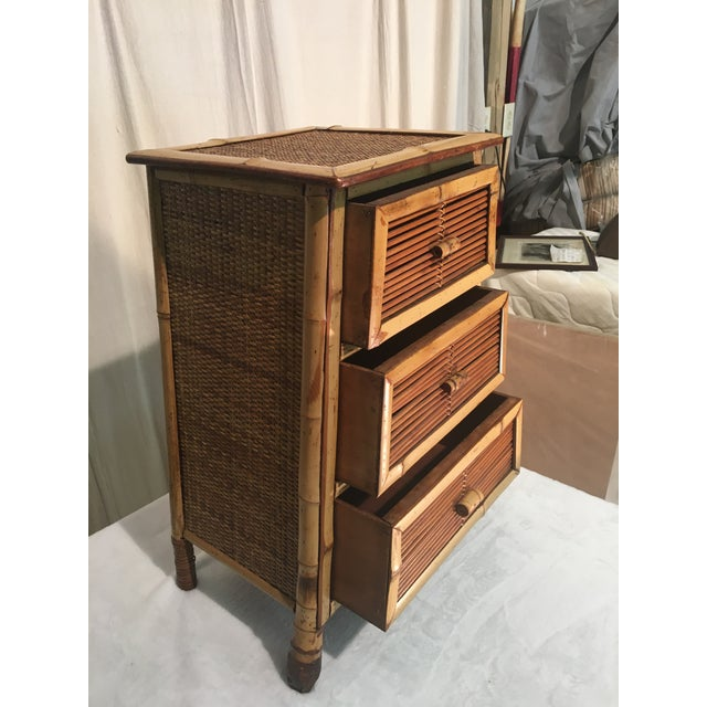 Shabby Chic Vintage Rattan and Bamboo Nightstand For Sale - Image 3 of 7