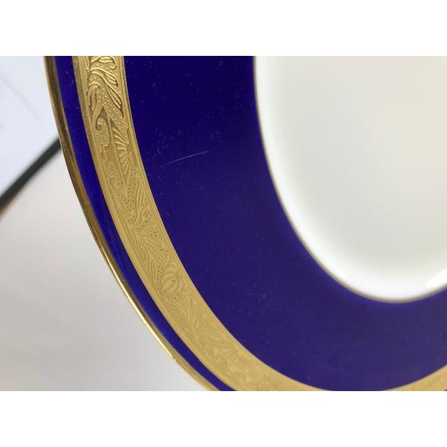 Minton Tiffany Gold & Cobalt Blue Rimmed Dinner Plates - Set of 6 For Sale - Image 4 of 13