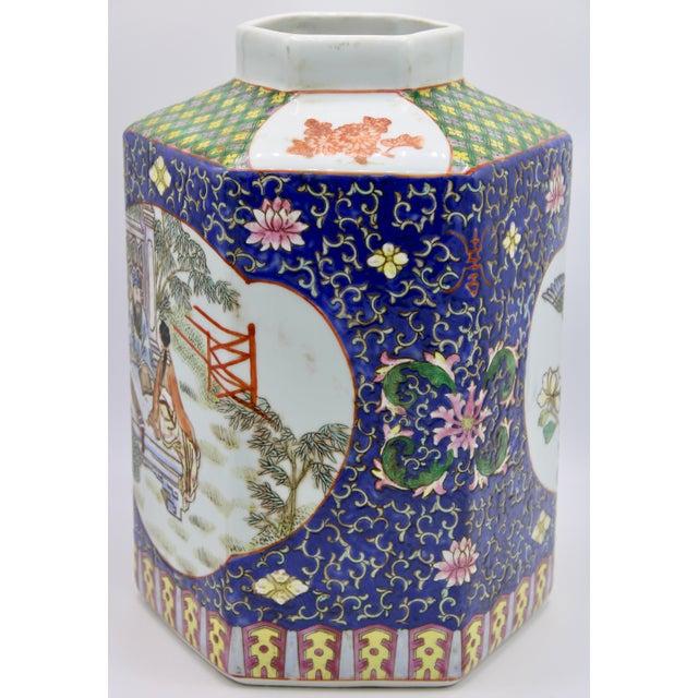 Large Antique Chinese Enamel Ceramic Vase For Sale In Tulsa - Image 6 of 13