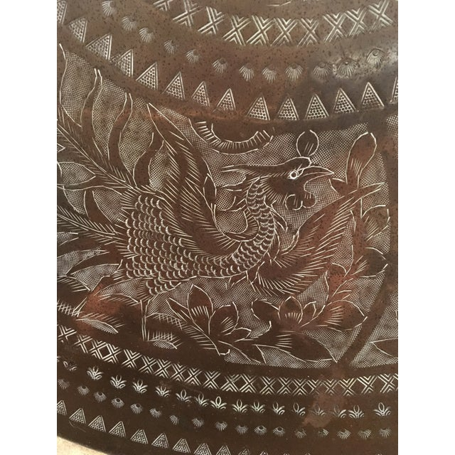 """Asian Large Vintage Mid-Century Chinese Brass Tray 28"""" For Sale - Image 3 of 12"""