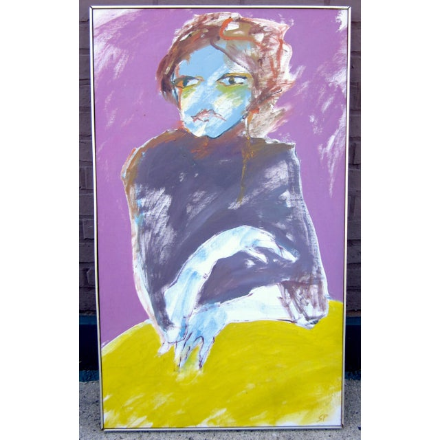 "1970s Vintage Suzanne Peters ""Woman at Yellow Table"" Signed Oil on Canvas Expressionist Portrait Painting For Sale - Image 10 of 10"