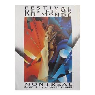 1995 Original Vintage Poster - Festival Des Films Du Monde - Alain Levesque For Sale
