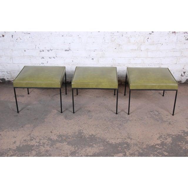Paul McCobb Green Vinyl Upholstered Iron Stool or Ottoman For Sale - Image 9 of 10