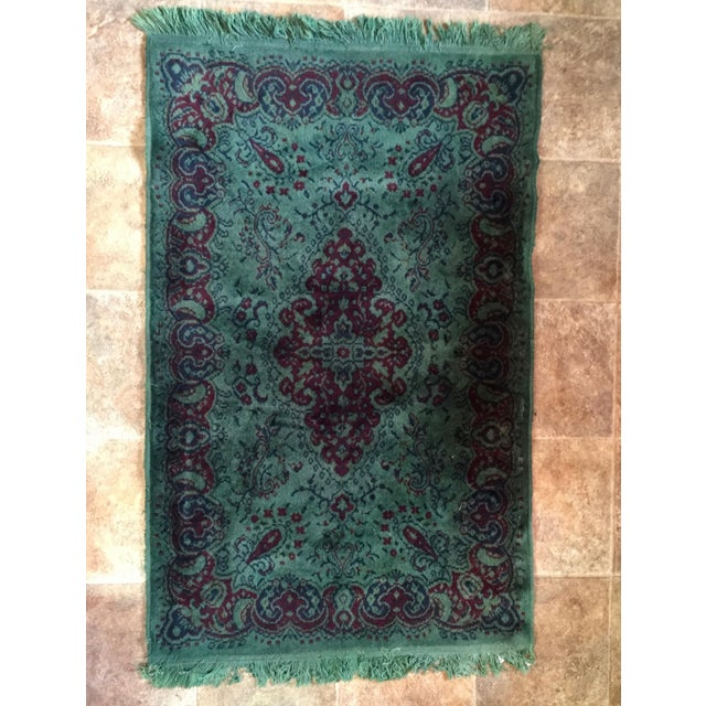Vintage Over Dyed Distressed Green Wool Rug - 3 x 5 - Image 2 of 7