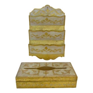 Italy Florentine Mail Sorter File & Tissue Boxes - A Pair