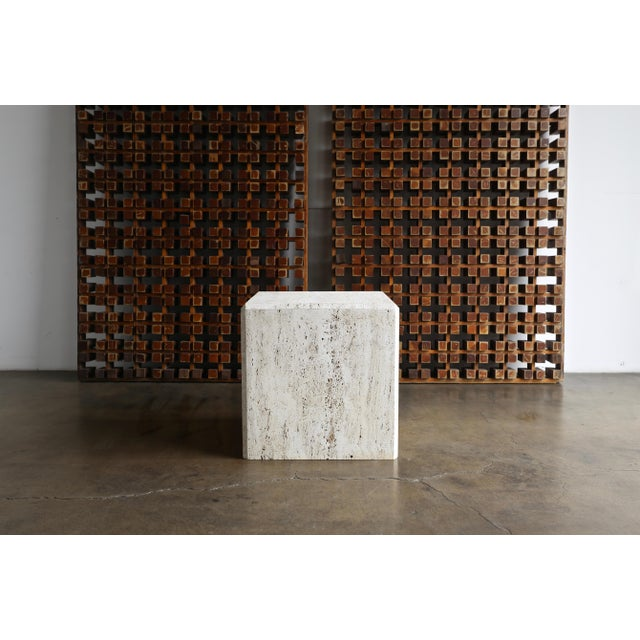 White Travertine Cube Side Table, Circa 1980 For Sale - Image 8 of 9