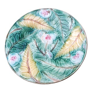 Antique Majolica Ferns & Flowers Plate