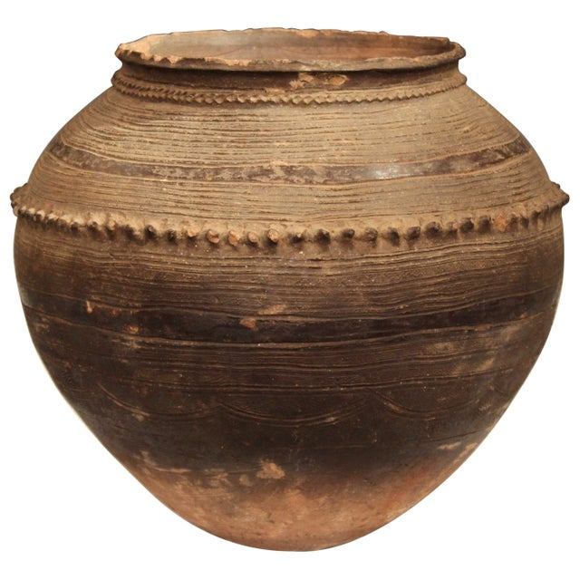 Antique Nigerian African Terracotta Pottery Storage Jar Incised Geometric Vase For Sale - Image 9 of 9