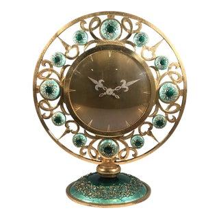 Rare French Bronze & Enamel Mantel Clock by Hour Lavinge For Sale