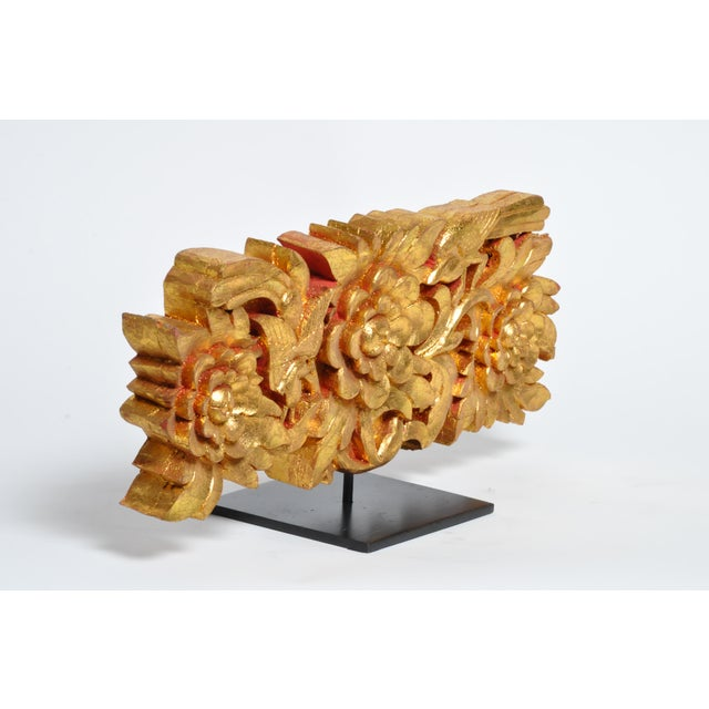 Teak Wood Carving With Gold Paint on Metal Stand For Sale - Image 4 of 13