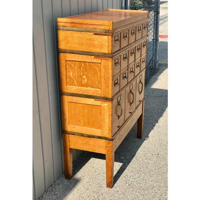 Metal Antique Globe-Wernicke Arts and Crafts Era Tiger Oak Library Card Catalog Filing Cabinet For Sale - Image 7 of 13