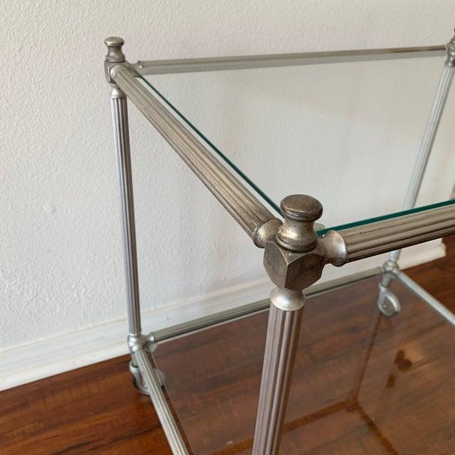 Vintage Nickel Silver Metal Rolling Bar Cart For Sale - Image 10 of 11