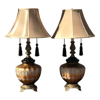 1960s Mid Century Tassel Lamp With Silk Shades - a Pair For Sale