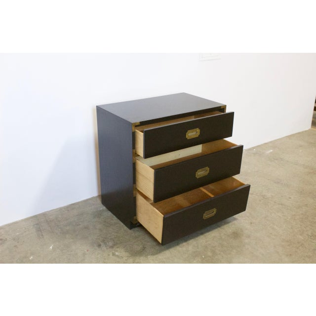 1970s Black Lacquered Three Drawer Campaign Chest For Sale - Image 5 of 12
