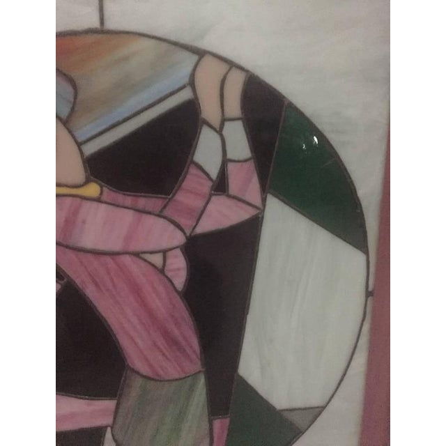 Glass Signed Art Deco Stained Glass Woman Golfer For Sale - Image 7 of 9
