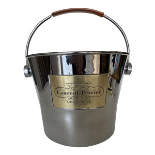 Laurent Perrier Champaign Silver-Tone Ice Bucket W/ Leather Handle For Sale