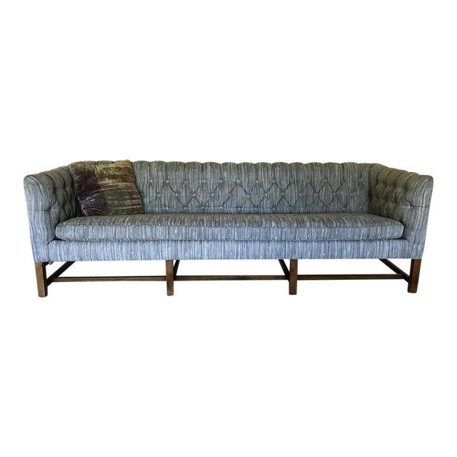 Vintage Gray Tufted Sofa & Pillow - Image 1 of 7