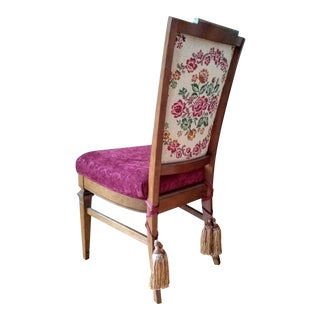 20th Century Victorian Style Mahogany Side Chair With Tapestry Back and Tassels For Sale