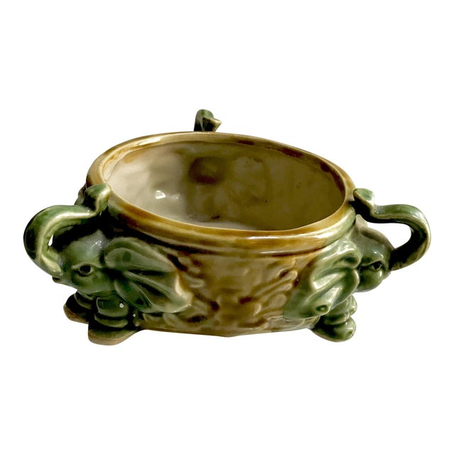 Vintage Thai Elephant Ceramic Planter Glazed in Celadon and Brown ...