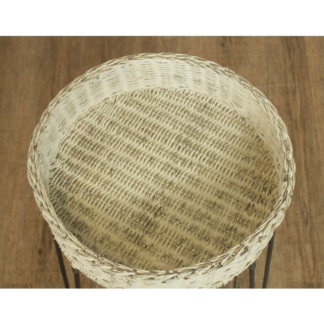 White Round Wicker Planter Table With Hairpin Legs For Sale - Image 8 of 12