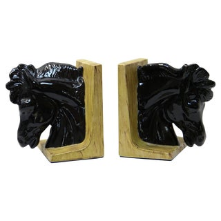 Ceramic Hollywood Regency Horsehead Bookends For Sale