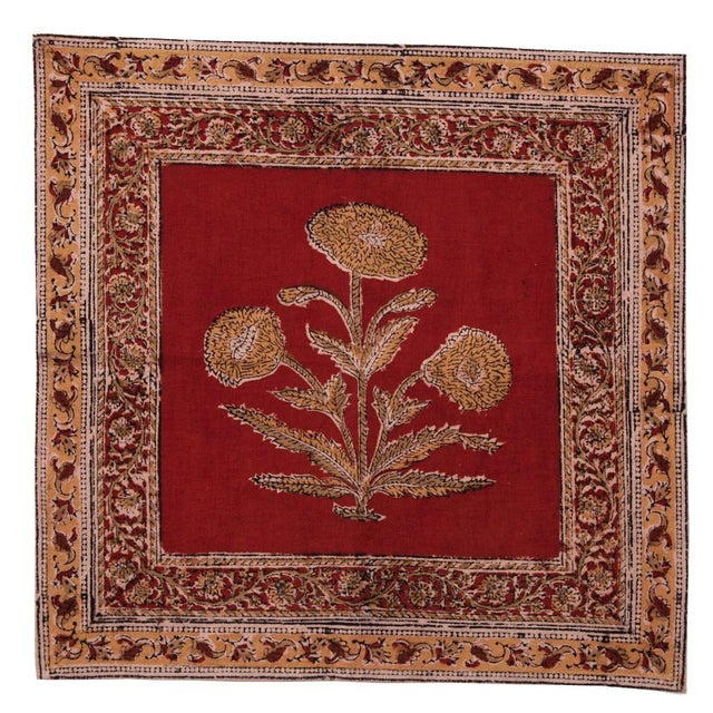 Contemporary Poppy Napkins, Maroon - A Pair For Sale - Image 3 of 4