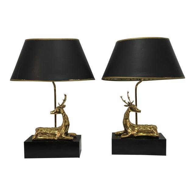 9cd963fe02693 Chapman Brass Deer Lamps - A Pair For Sale