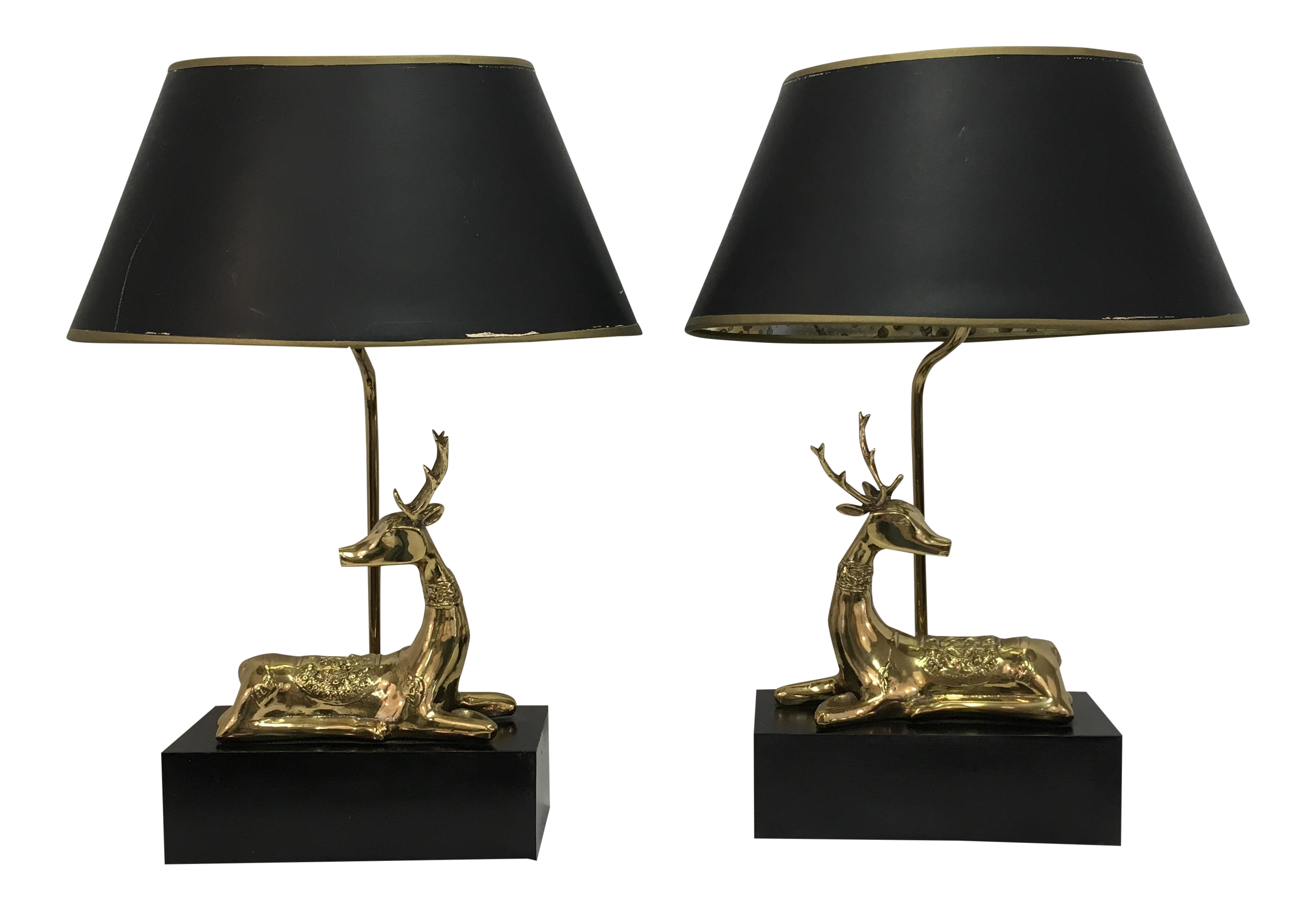 Chapman Brass Deer Lamps   A Pair