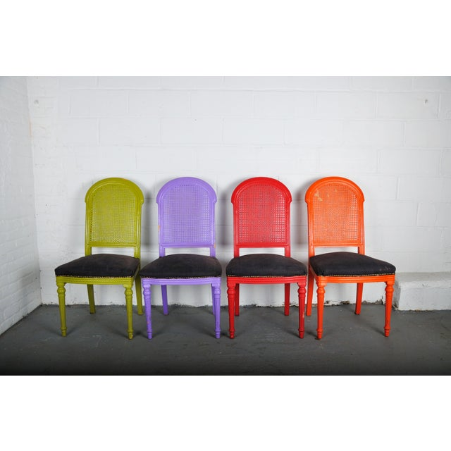 Art Deco 1970's Vintage French Multicolor Dining Chairs With Cane Back - Set of 4 For Sale - Image 3 of 13