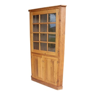 Wormy Chestnut Hunt-Board and Corner Cabinet For Sale
