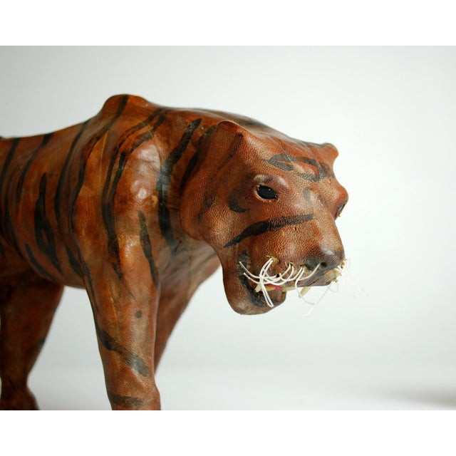 Mid Century Leather Tiger Sculpture - Image 5 of 6