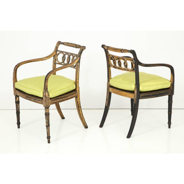 Neoclassical Pair of English Regency Painted and Parcel-Gilt Side Chairs For Sale - Image 3 of 10