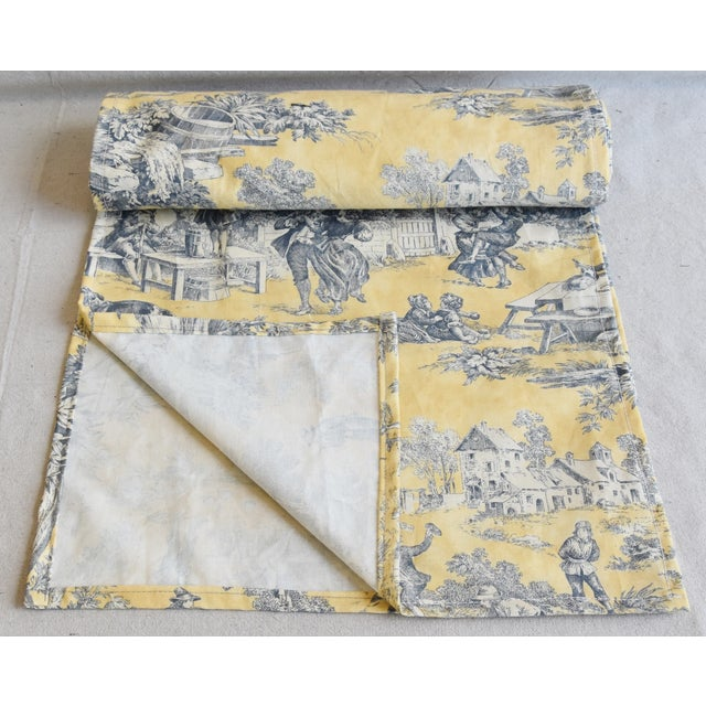 "Abstract Custom French Country Farmhouse Toile Table Runner 110"" Long For Sale - Image 3 of 9"