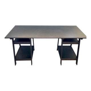 Black Solid Wood Sawhorse Desk For Sale