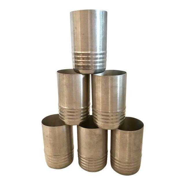 Vintage Aluminum Tumblers - Set of 6 For Sale